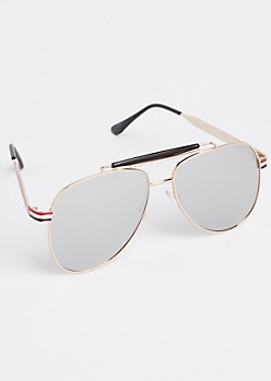 Tri Stripe Brow Bar Aviator Sunglasses