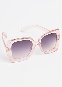 Pink Glitter Square Lens Sunglasses
