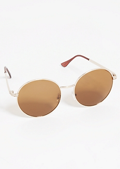 Gold Round Smoky Lens Sunglasses