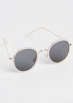 Metal Inlay Round Lens Sunglasses