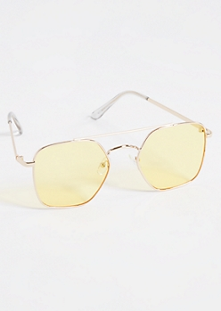 Yellow Square Frame Geo Aviator Sunglasses