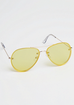 Yellow Frameless Aviator Sunglasses