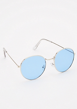 Light Blue Round Sunglasses