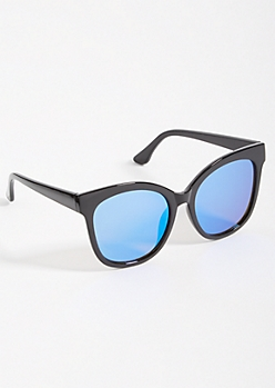 Black Oversized Blue Mirrored Cat Eye Sunglasses
