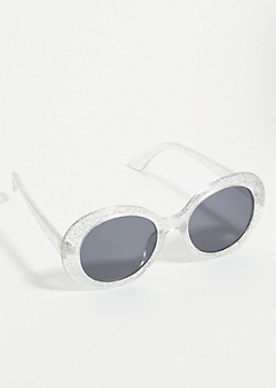 Silver Glitter Mirrored Oval Sunglasses