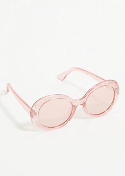 Fuchsia Glitter Mirrored Oval Sunglasses