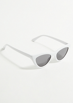 White Micro Cat Eye Sunglasses