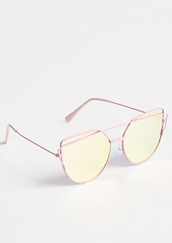 Pink Browline Cat Eye Sunglasses