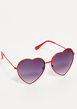 Red Heart Shaped Aviator Sunglasses