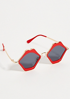 Red Smoky Lip Frame Sunglasses