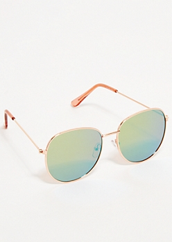 Rose Gold Mirrored Lens Round Aviator Sunglasses