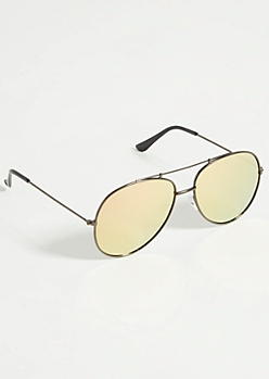 Black Mirrored Rose Gold Lens Aviator Sunglasses