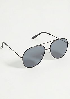 Black Out Smokey Lens Aviator Sunglasses