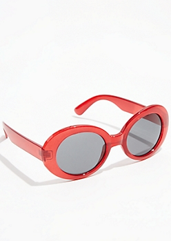 Red Retro Round Sunglasses