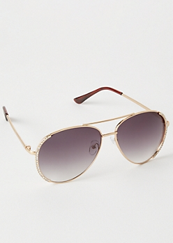 Gold Rhinestone Side Aviator Sunglasses