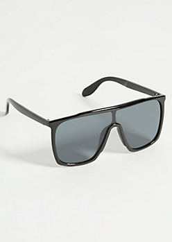 Black Glossy Square Shield Sunglasses