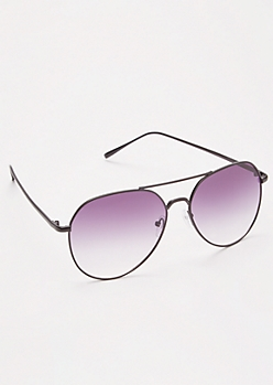 Black Lavender Gradient Aviator Sunglasses