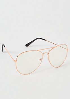 Rose Gold Iridescent Blue Light Aviator Glasses