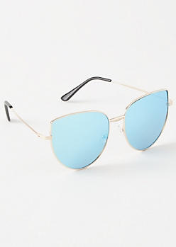 Blue Mirrored Oversized Cat Eye Sunglasses