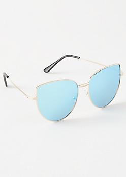 Blue Mirrored Oversized Cat Eye Sunglasses