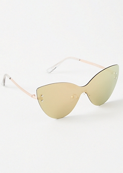Rose Gold Mirrored Shield Cat Eye Sunglasses