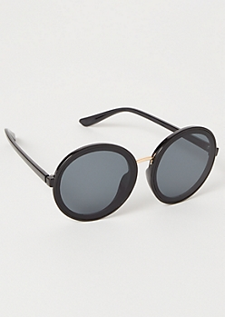 Black Monochrome Round Sunglasses