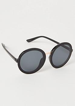 Black Monochrome Round Sunglasses
