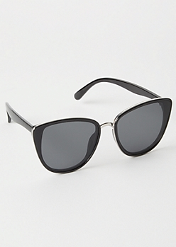 Black Oversized Trim Cat Eye Sunglasses