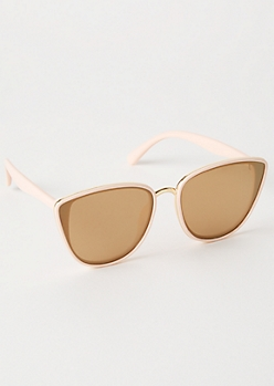 Pink Oversized Trim Cat Eye Sunglasses