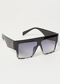 Black Tortoiseshell Ombre Lens Shield Sunglasses