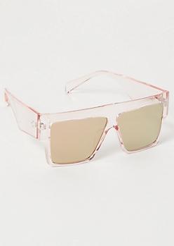 Pink Mirrored Lens Shield Sunglasses