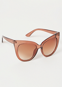 Brown Monochrome Cat Eye Sunglasses