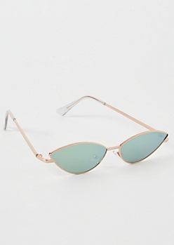 Rose Gold Mirrored Skinny Cat Eye Sunglasses
