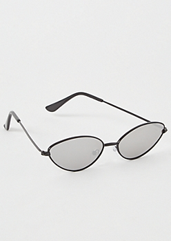 Black Mirrored Skinny Cat Eye Sunglasses