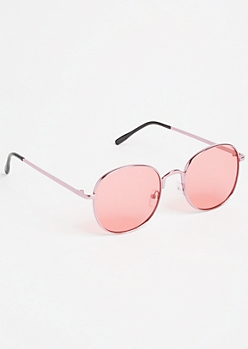 Pink Square Rose Lens Sunglasses