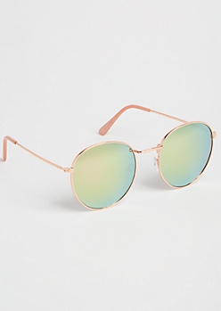 Rose Gold Round Lens Sunglasses