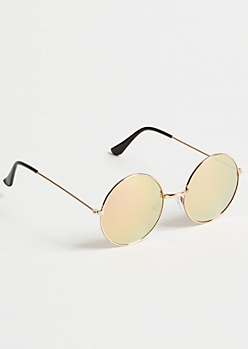 Gold Mirrored Retro Round Sunglasses