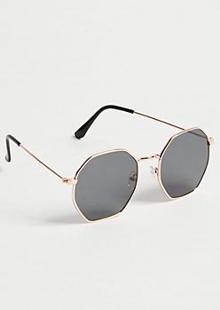 Gold Geometric Sunglasses