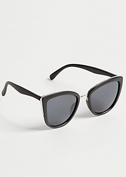 Black Oversized Browline Cat Eye Sunglasses