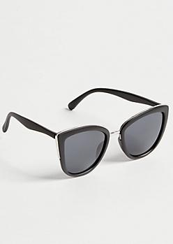 Black Oversized Browline Cat Eye Sunglasses
