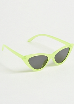 Green Skinny Cat Eye Sunglasses