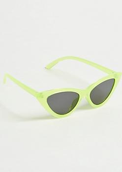 Green Skinny Cat Eye Sunglasses