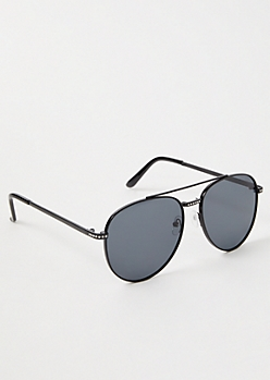 Black Rhinestone Aviator Sunglasses