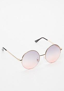 Gold Half Frame Round Sunglasses