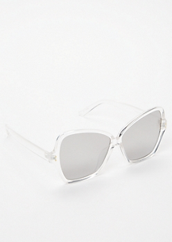 Silver Oversized Cat Eye Mirrored Sunglasses
