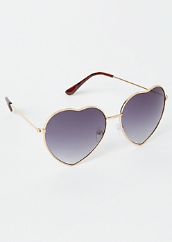 Gold Tortoiseshell Heart Eye Sunglasses