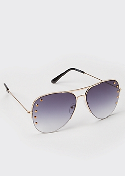 Gold Metal Frame Studded Aviator Sunglasses