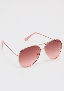 Rose Gold Rhinestone Aviator Sunglasses