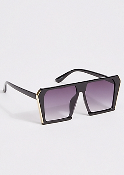 Gold Trim Monochrome Shield Sunglasses
