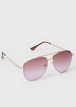 Rosewood Metal Frame Aviator Sunglasses